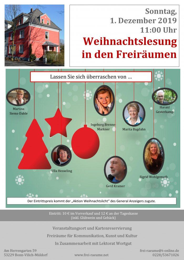 Plakat Weihnachtsmatinee ini den Freiräumen